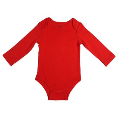 Mayfair Infants Wear Size 0-3M Unisex Long-Sleeve Bodysuit in Red