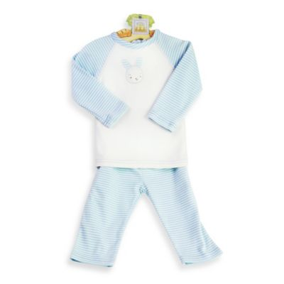 Bunnies by the Bay Size 6-9M Carrots 2-Piece Striped Knit Shirt and Pant Set in Blue/White