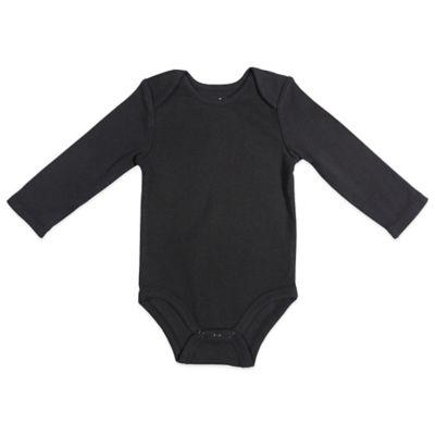 Size 3-6M Long-Sleeve Bodysuit in Black