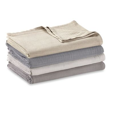 Kenneth Cole Reaction Home Reversible Cotton Twin Blanket in Silver