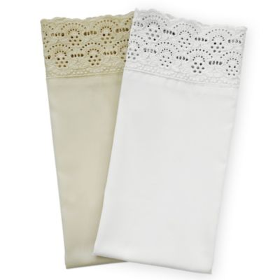 400 Thread Count Lace Cotton King Sheet Set in White