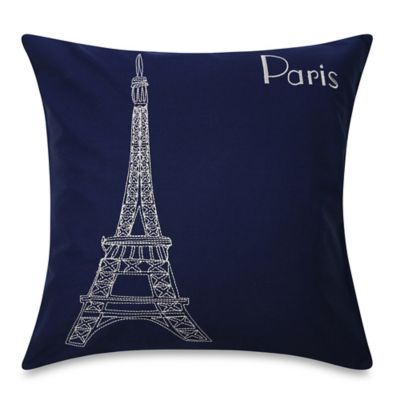 Bedlam Passport Paris Square Throw Pillow in Blue
