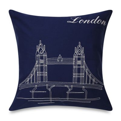Bedlam Passport London Square Throw Pillow in Blue