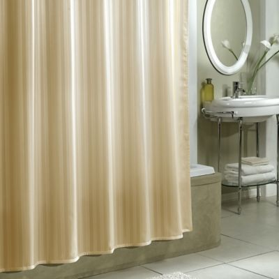 Damask Stripe Fabric Shower Curtain Liner in Linen