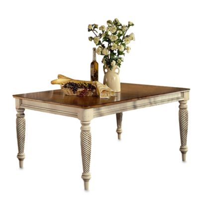 Hillsdale Wilshire Rectangle Dining Table with Two 18-Inch Leaves in Antique White