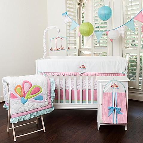 Pam Grace Creations Aqua Peacock 10 Piece Crib Bedding Set