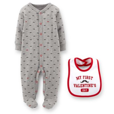 Carter's® Size 9M 2-Piece Mustache Print Footie and Valentine's Bib Set in Grey/Red