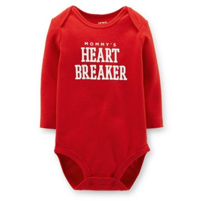"Carter's® Size 3M ""Mommy's Heartbreaker"" Long-Sleeve Bodysuit in Red"