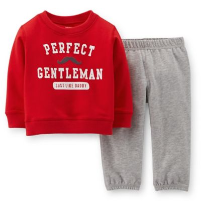 "Carter's® Newborn 2-Piece ""Perfect Gentleman"" Pant Set in Red/Grey"