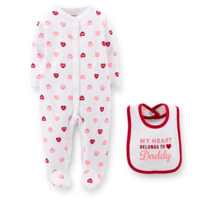 Carter's® Newborn 2-Piece Heart Print Footie and Bib Set in White/Red