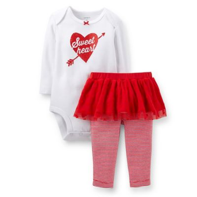 "Carter's® Size 3M 2-Piece ""Sweetheart"" Pant Set in Red/White"