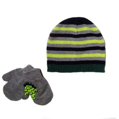 Toddler Striped Knit Hat & Mitten Set in Green/Grey