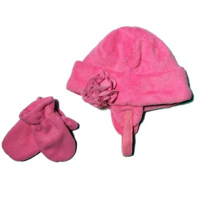 Infant Flower Hat & Mitten Set in Pink