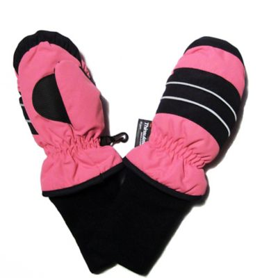 Toddler Ski Mittens with Extended Cuff in Pink
