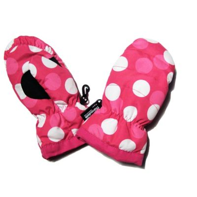 Toddler Ski Mittens in Pink Polka Dot