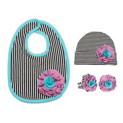 Itty Bitty & Pretty Size 12-24M 3-Piece Hat, Bib and Booties Gift Set in Jazzy Gem