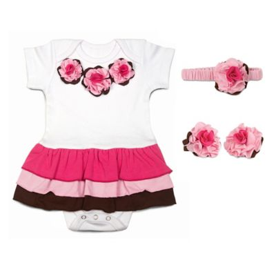 Itty Bitty & Pretty Size 6-9M 3-Piece Headband, Bodysuit Dress and Booties in Strawberry Sundae