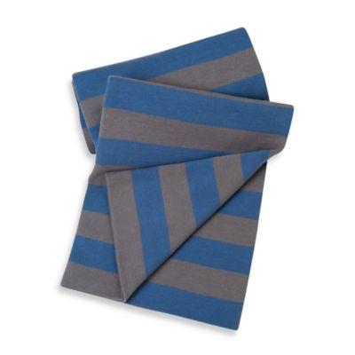 Baby Blankets > Sumersault Cotton Stroller Blanket in Navy/Grey Stripe