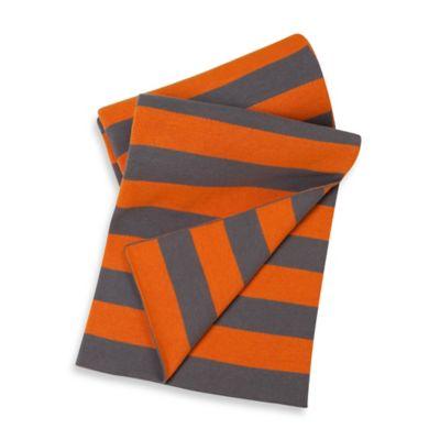 Sumersault Cotton Stroller Blanket in Orange/Grey Stripe