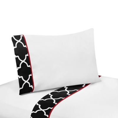 Sweet Jojo Designs Trellis 3-Piece Twin Sheet Set in Red/Black