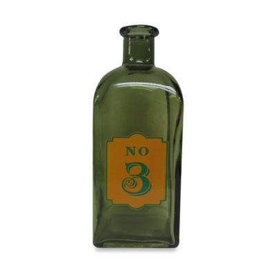 Decorative 9-Inch Glass Bottle #3 in Green