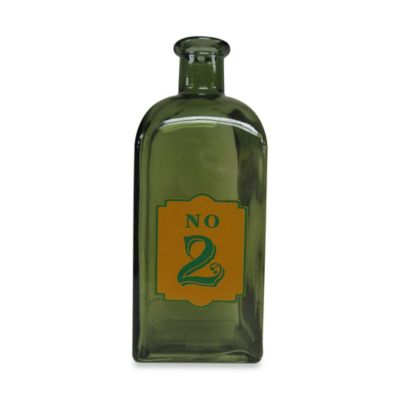 Decorative 9-Inch Glass Bottle #2 in Green