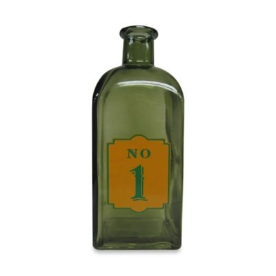 Decorative 9-Inch Glass Bottle #1 in Green