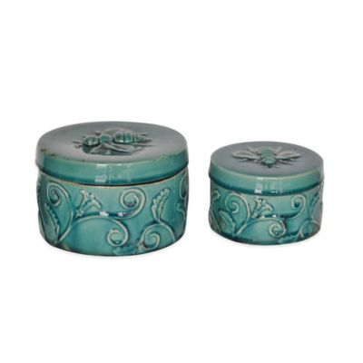 Crestview Collection Turquoise Round Ornate Boxes (Set of 2)