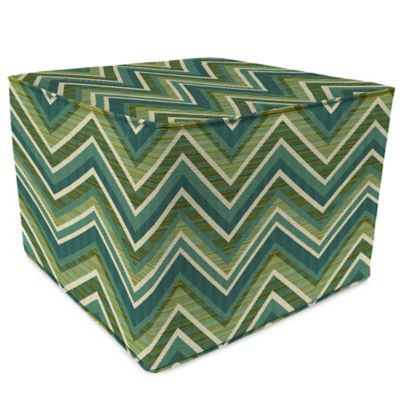 Outdoor Square Pouf Ottoman in Sunbrella® Fischer Sunset