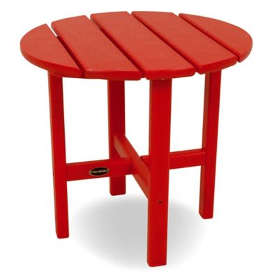POLYWOOD® 18-Inch Round Side Table in Sunset Red