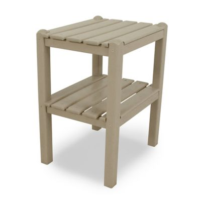 POLYWOOD® 2 Shelf Side Table in White
