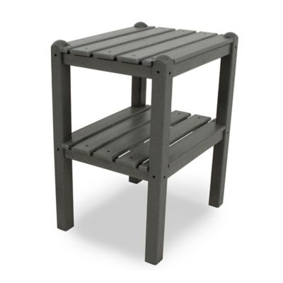 POLYWOOD® 2 Shelf Side Table in Slate Grey