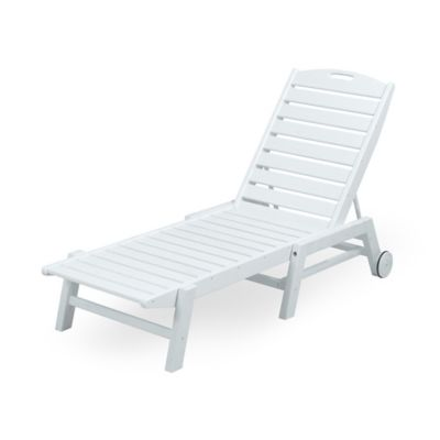 POLYWOOD® Nautical Stackable Wheeled Chaise in White