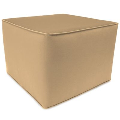 Outdoor Square Pouf Ottoman in Sunbrella® Canvas Camel