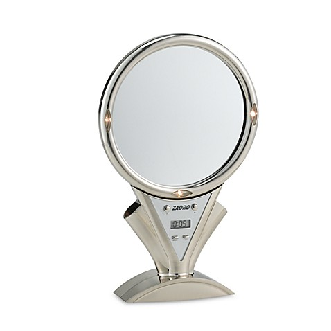Motorized Power Zoom™ Fog-Free Lighted 5X/1X Stainless Steel Shower Mirror