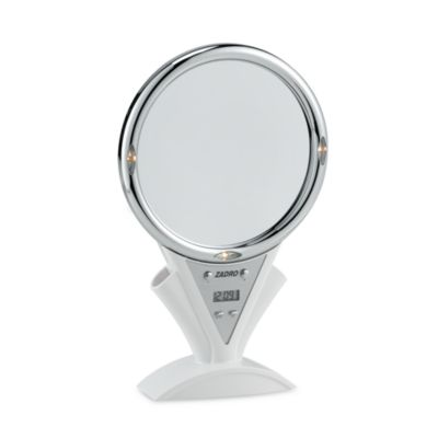 Motorized Power Zoom™ Fog-Free Lighted 5X/1X White Shower Mirror
