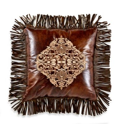 Faux Leather Throw Pillow