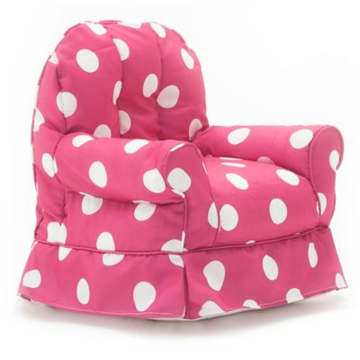 Comfort Research Big Joe Babs Chair Gabardine Armchair in Pink and White Dot