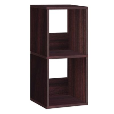 Way Basics 2 Shelf Duo Narrow Bookcase in Espresso