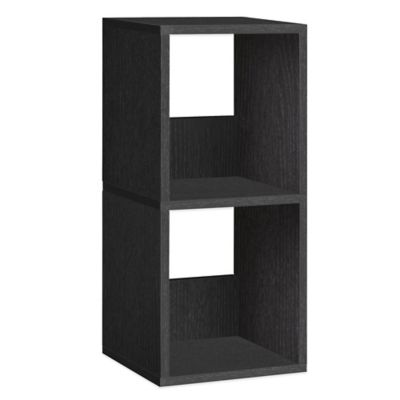 Way Basics 2 Shelf Duo Narrow Bookcase in Black