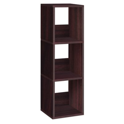 Way Basics 3 Shelf Trio Narrow Bookcase in Espresso