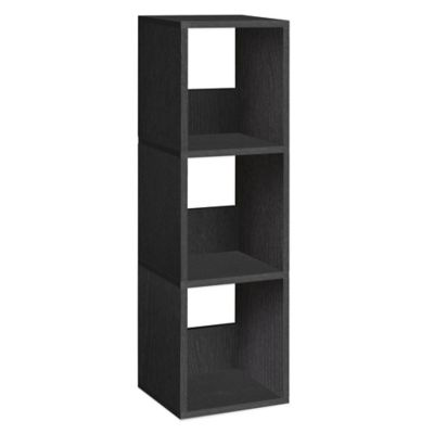 Way Basics 3 Shelf Trio Narrow Bookcase in Black