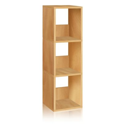 Way Basics 3 Shelf Trio Narrow Bookcase in Natural