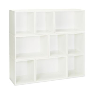 Way Basics Oxford Stackable Modular Storage and Bookcase in White (Set of 6)