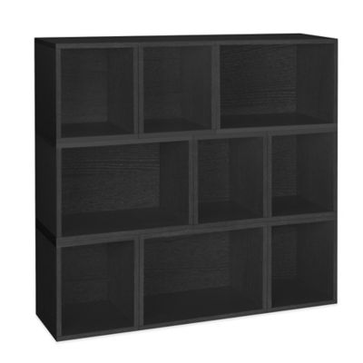 Way Basics Oxford Stackable Modular Storage and Bookcase in Black (Set of 6)