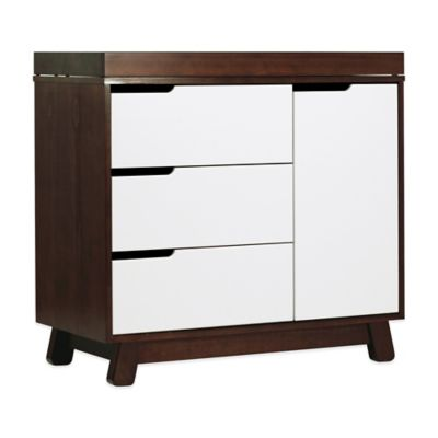 Dressers > Babyletto Hudson 3-Drawer Changer Dresser in Espresso and White