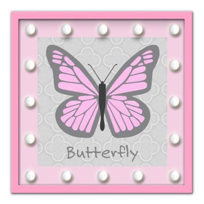 Framed Butterfly Light-Up Sign in Pink