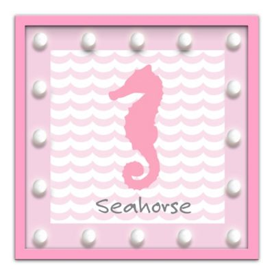 "Design House LA Framed ""Seahorse"" Light-Up Sign in Pink"