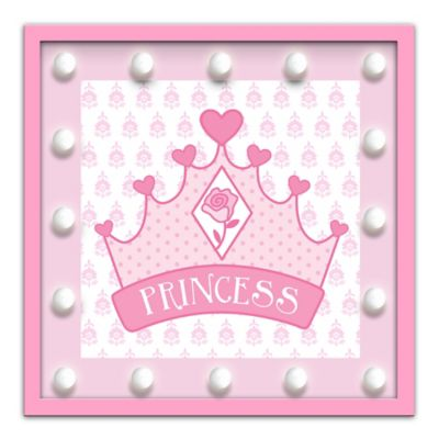 "Design House LA Framed ""Princess"" Crown Light-Up Sign in Pink"