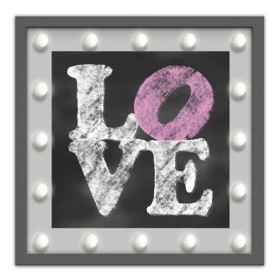 "Design House LA Framed ""Love"" Light-Up Sign in Grey"